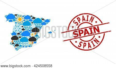 Climate Mosaic Map Of Spain, And Scratched Red Round Stamp Seal. Geographic Vector Mosaic Map Of Spa