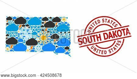 Weather Collage Map Of South Dakota State, And Textured Red Round Stamp Seal. Geographic Vector Mosa