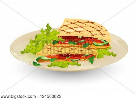 Cartoon Of Grilled Pita Bread With Fresh Lettuce, Tomato, Sauce, Cucumber And Meat. Vector Cafe Orde