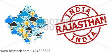 Weather Mosaic Map Of Rajasthan State, And Distress Red Round Stamp. Geographic Vector Mosaic Map Of