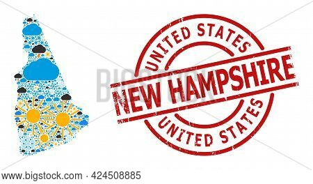Weather Mosaic Map Of New Hampshire State, And Rubber Red Round Stamp Seal. Geographic Vector Collag