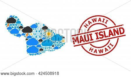 Climate Collage Map Of Maui Island, And Textured Red Round Stamp. Geographic Vector Collage Map Of M