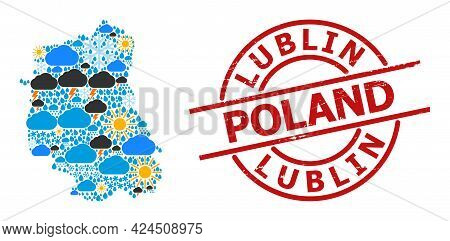 Climate Mosaic Map Of Lublin Province, And Textured Red Round Stamp Seal. Geographic Vector Mosaic M