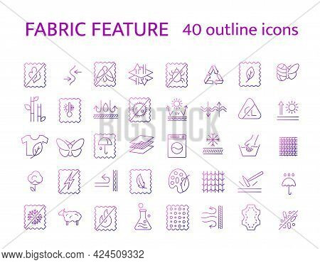 Material Feature Outline Icons Set. Textile Industry. Different Properties Of Fiber