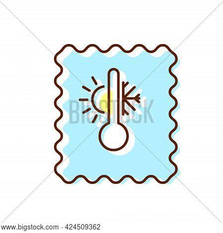 Temperature Regime Textile Flat Icon. Fabric Feature. Wear Industry. Thermal Underwear. Material Qua