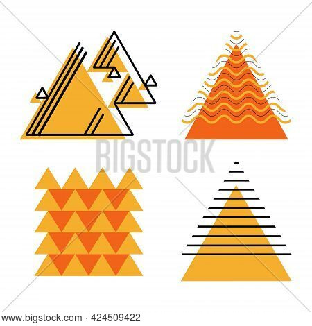 Set Of Vector Abstract Contrasting Geometric Shapes. Decorated Triangles With Parallel Lines And Zig