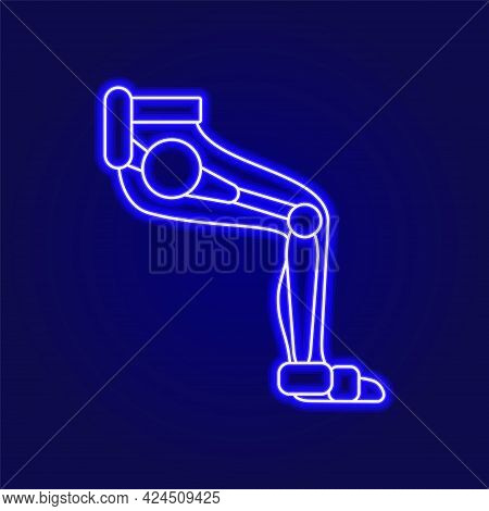 Muscular Leg With Exoskeleton Outline Icon. Futuristic Medicine. Rehabilitation Help. Blue Neon Cont