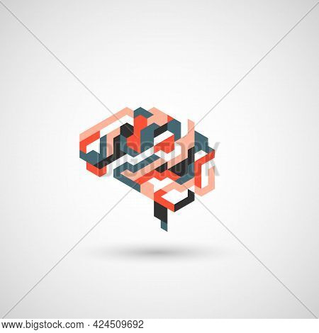 Abstract Colorful Human Brain. Simple Vector Graphic. Modern Illustration Mind For Thought, Intellig
