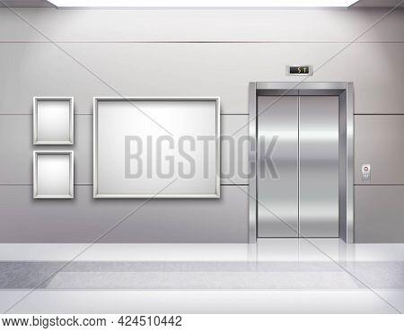 Realistic Empty Elevator Hall Interior With Close Metallic Lift Doors Marble Floor Fluorescent Light