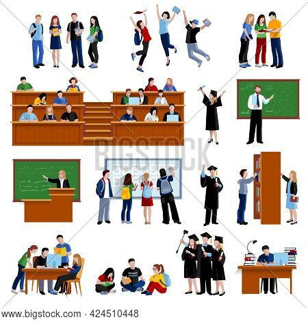 Students At The University In Library In Auditorium And After Exam Flat Color Icons Set On White Bac