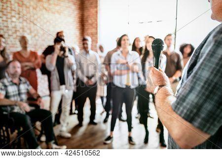 Man speaking in a seminar