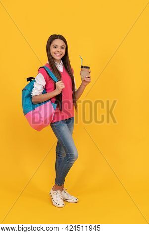 Cheerful Kid Drink Cocoa. Smiling Child Drinking Cacao Cup. Education. Tween And Youth.
