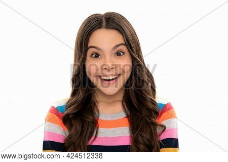 Surprised Girl Portrait With Happy Child Face In Striped Sweater Isolated On White, Surprise