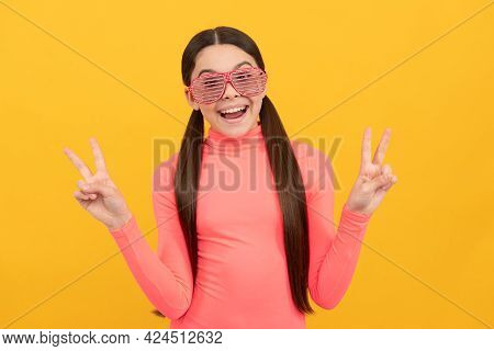 Childhood Happiness. Fancy Party Look. Happy Funny Kid In Glamour Eyeglasses With Rhinestones