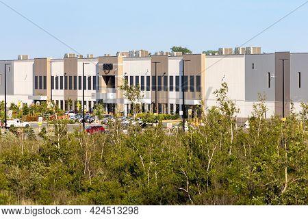 Ottawa, Ontario, Canada - June 21, 2021: The Amazon Distribution Warehouse At 5225 Boundary Road.