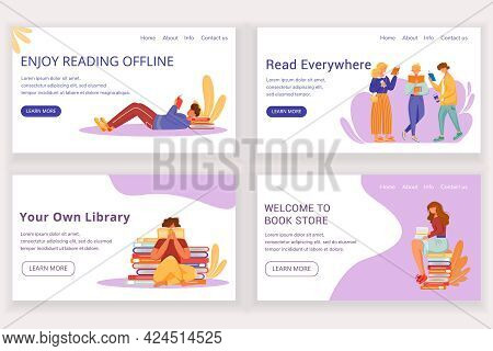 Reading Book Landing Page Vector Template Set. Offline Bookstore Website Interface Idea With Flat Il