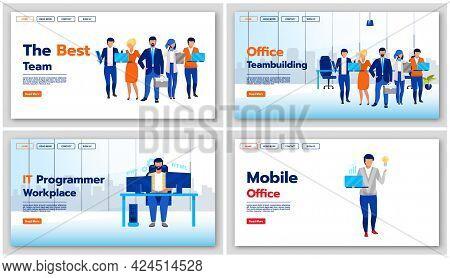 Business Landing Page Vector Templates Set. Team Building Website Interface Idea With Flat Illustrat