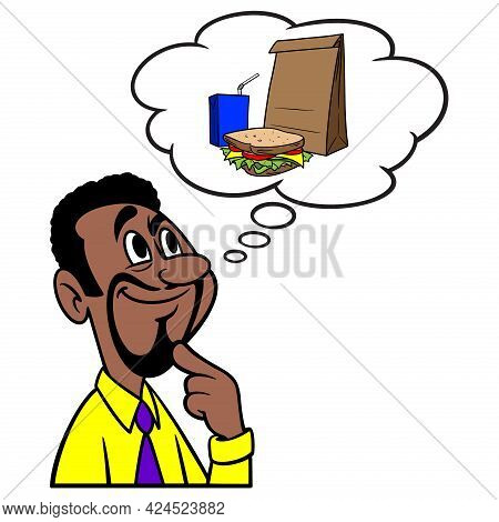 Man Thinking About Lunch - A Cartoon Illustration Of A Man Thinking About A Brown Bag Lunch.