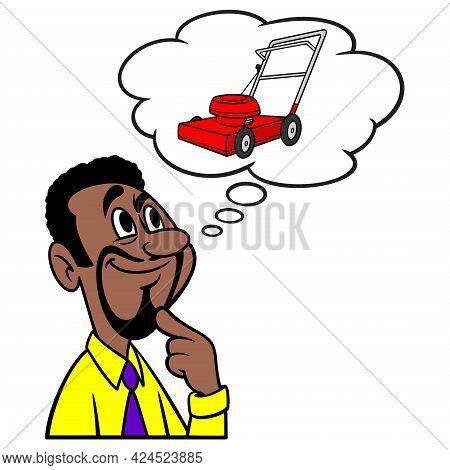 Man Thinking About A Lawn Mower - A Cartoon Illustration Of A Man Thinking About Getting A New Lawn