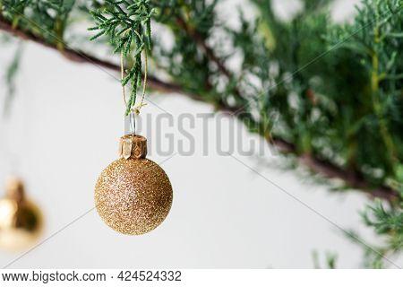 Festive baubles on a Christmas tree