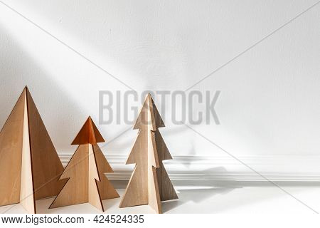 Wooden Christmas tree on a table