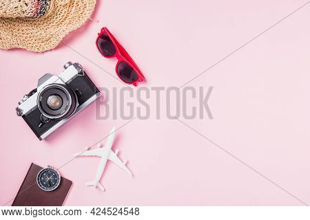Top View Flat Lay Mockup Of Retro Camera Films, Airplane, Hat, Sunglasses, Starfish Beach Traveler A