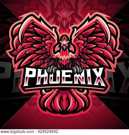 Phoenix Esport Mascot Logo Design With Text