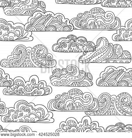 Seamless Pattern With Doodle Ornate Black And White Mandala Clouds. Hand Drawn Vector Illustration.
