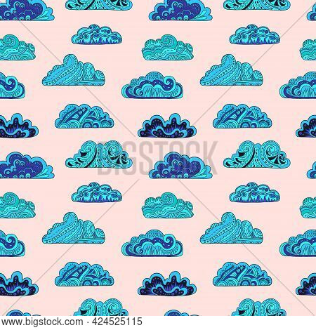 Seamless Pattern With Doodle Ornate Mandala Clouds. Hand Drawn Vector Illustration.