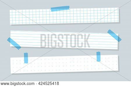 Pieces White Paper With Blue Lined. Horizontal Templates Checkered Or Line Sheet. Copybook Sheet Wit