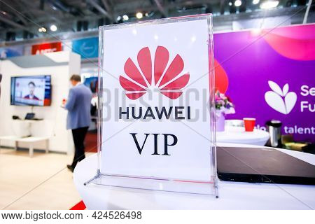 Minsk. Belarus - 01.06.2021: The Stand Of The International Company Huawei Within The Tibo 2021 Exhi
