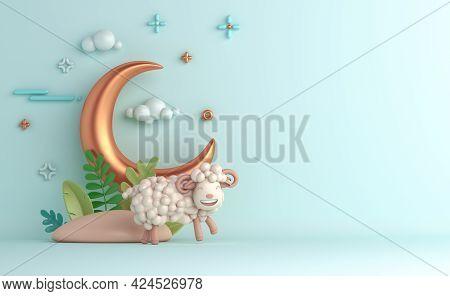 Eid Al Adha Islamic Decoration Background With Goat Sheep Arabic Crescent, Ramadan Kareem, Mawlid, I