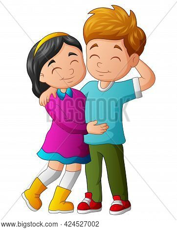 Cute Teenage Lover Couple Stand And Hugging
