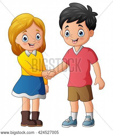 Illustration Of Teens Shaking Hands After Being Introduced