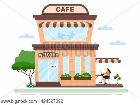 Cafe Or Coffeehouse Illustration With Open Board, Tree, And Building Shop Exterior. Flat Design Conc