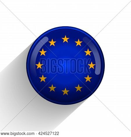 Glass Light Ball With European Union Flag. Round Sphere, Template Icon. Eu National Symbol. Glossy R