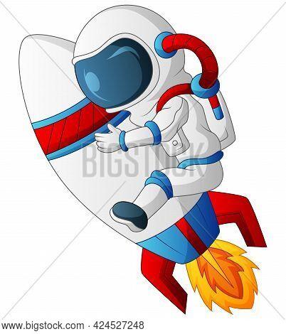 Cartoon Illustration Of Astronaut Riding On Rocket