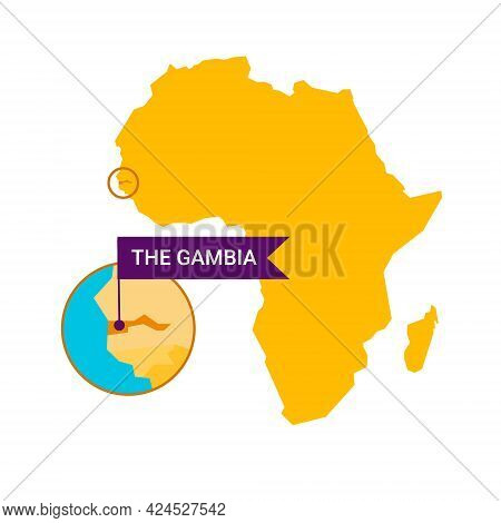 The Gambia On An Africa S Map With Word The Gambia On A Flag-shaped Marker. Vector Isolated On White