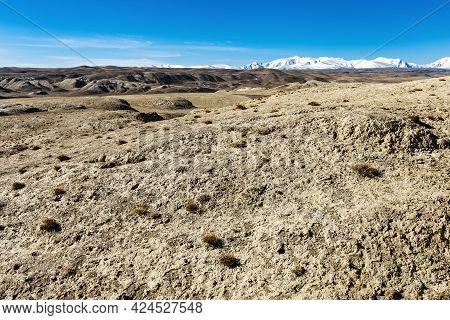 Mountains Of Kyzyl-chin Luna, Beautiful Lunar Landscape In Altai Republic, Russia. Natural Hills, Na