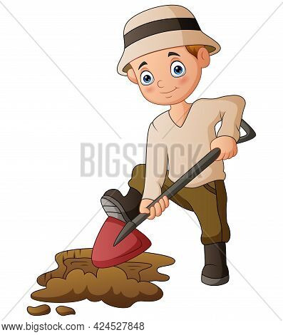 The Man Dug The Ground With A Shovel