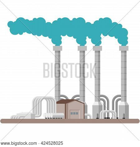 Geothermal Energy Power Plant Vector Illustration On White