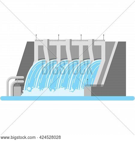 Hydroelectric Dam Water Power Station Vector Icon