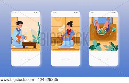 Asian Woman Making Japanese Green Matcha Tea. Mobile App Screens, Vector Website Banner Template. Ui