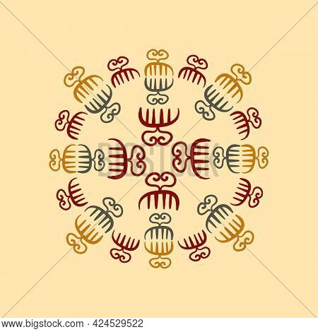 Vector Mandala With Ancient Tribal Ethnic Symbols Of Adinkra. Ritual Screen Printing Of African Peop