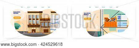 Building Repair Landing Page Design, Website Banner Vector Template Set. House Renovation, Home Rest