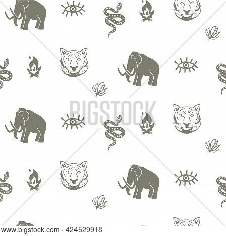 Mammoth Seamless Pattern With Tiger And Snake Stone Age Theme Background