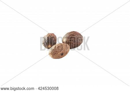 Isolated Nutmug. Isolated Walnut. Several Nuts On A White Background. Several Nutmegs On A White Bac