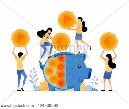 Vector Design Of People Save Coins In Piggy Banks. Awareness Of People To Save In Banking System. Fi