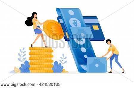 Vector Design Of Manage Finance And Spending With Credit Card. Banking System For Money Debt And Cre