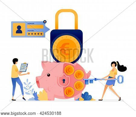 Vector Design Of Security In Saving Personally. Protection For Finance And Banking System. Piggy Ban